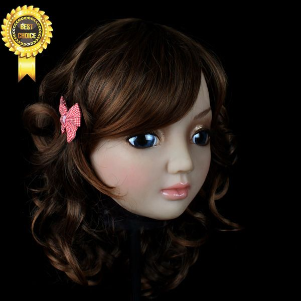 SH-5 CD CHANGE silicone female human party mask CD female mask cross dressing Halloween full head mask with wig