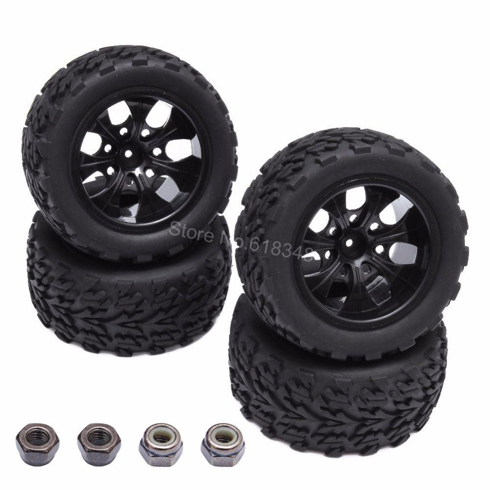 4 шт. резиновые RC автомобильных Покрышки и обод колеса hex 12 мм для 1/10 Monster HSP бронтозавр 94111 Redcat вулкан EPX превышать Бесконечность шины