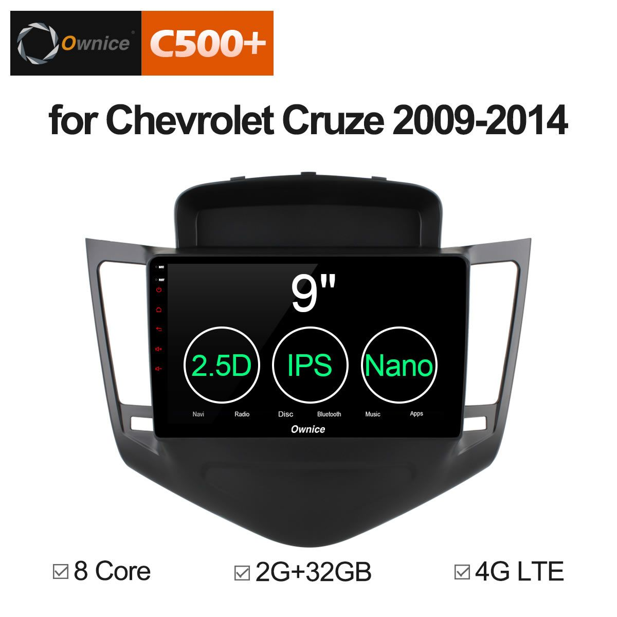 Ownice C500+ G10 2 din touch screen Android 8.1 car dvd gps for Chevrolet Cruze 2009 - 2014 eight core 2G RAM 32G ROM Support 4G