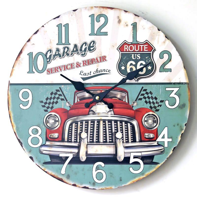 ROUTE US 66 Europe Retro Classic Gran Torino Wall Clocks Mute Rimless Single Face Digital Clock Home Decor