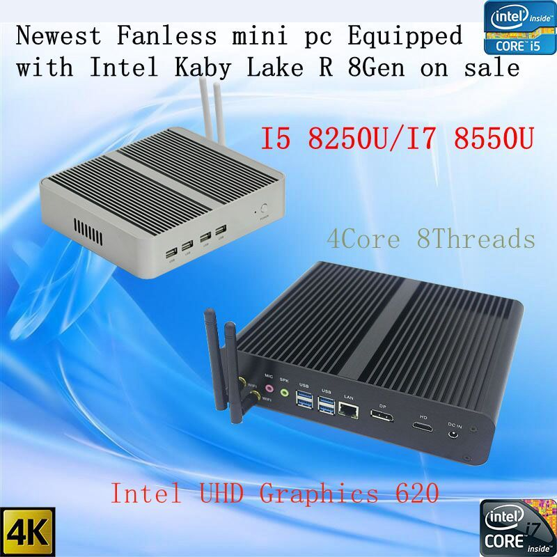 Neueste Kaby See R 8Gen Fanless pc i5 8250u/i7 8550u Intel UHD 620 win10 Quad Core 8 Threads DDR4 2133 2400 NUC Freeshipping pc