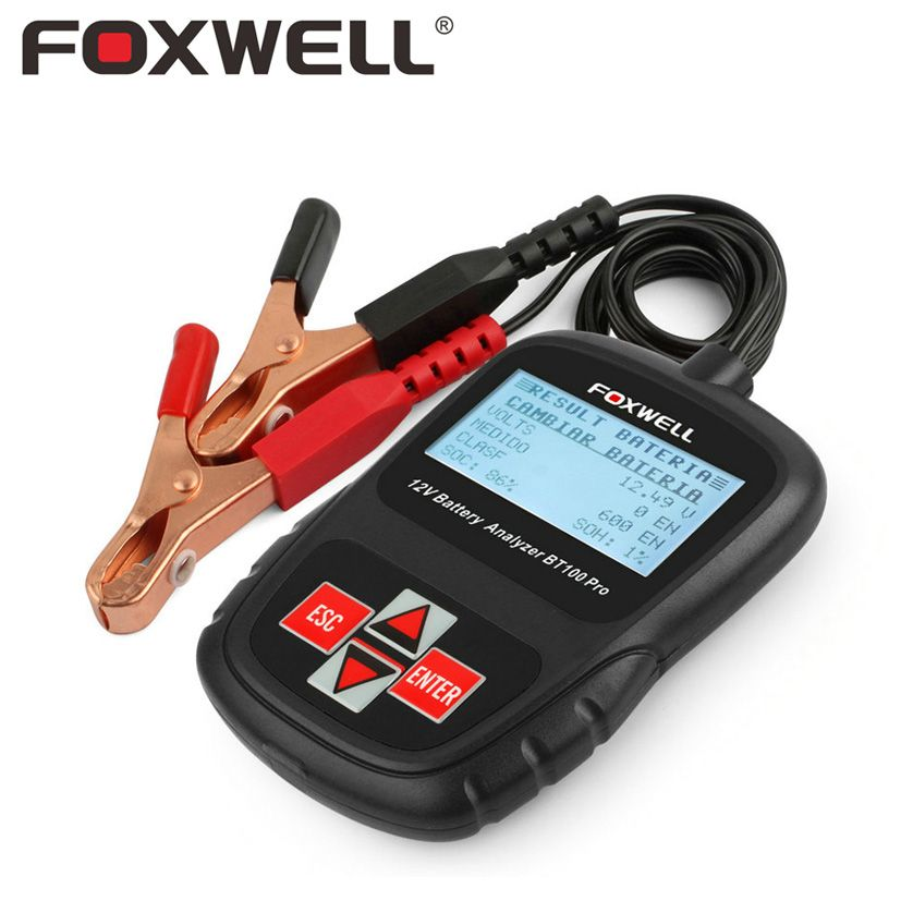 <font><b>FOXWELL</b></font> BT100 PRO 12V Car Battery Tester For Flooded AGM GEL Cell 100 - 1100 CCA 30 to 110 AH 12 V Volt Automotive Analyzer Tool