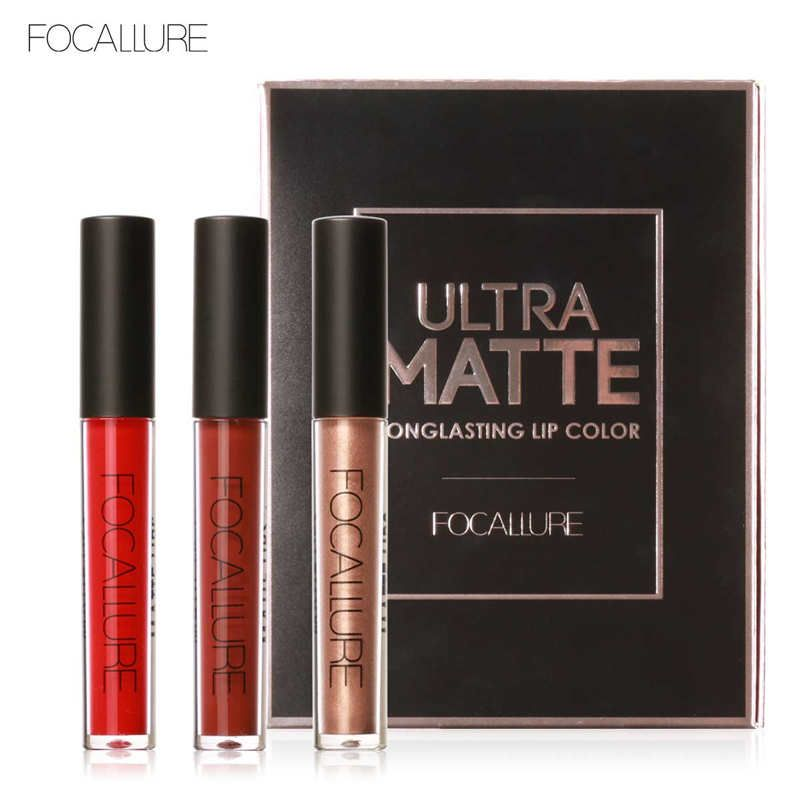 FOCALURE 3 Sexy Colors Matte Liquid Lipstick Lip Paint Matte Lipstick Waterproof Long Lasting Lip Gloss Lips C