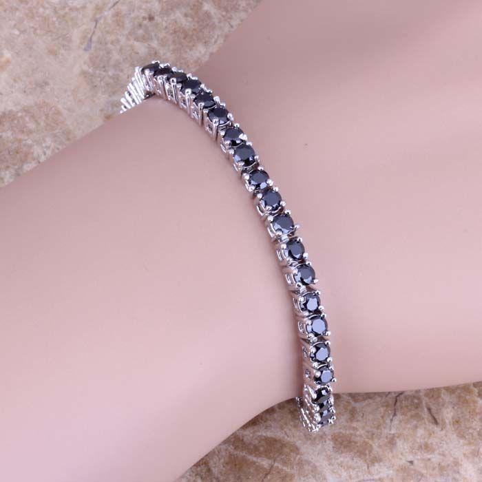 Scintillant Noir Cubique Zircon 925 Sterling Argent Lien Chaîne Bracelet 7 pouce Livraison Gratuite et Cadeau Sac S0302A