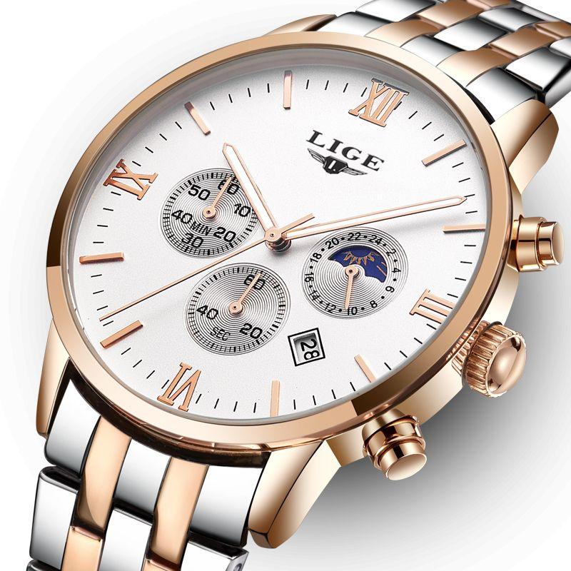 2018 fashion top brand luxury LIGE moon phase all steel watch men's business fashion quartz watch men's outdoor sports Relogio