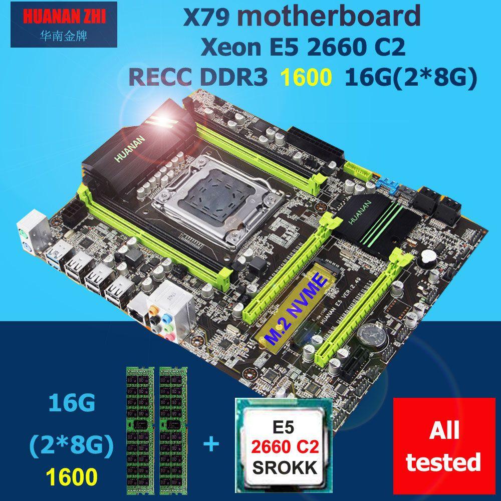 Rabatt motherboard HUANAN ZHI X79 motherboard CPU RAM set CPU Intel Xeon E5 2660 SROKK 2,2 ghz RAM 16g (2*8g) DDR3 1600 REG ECC