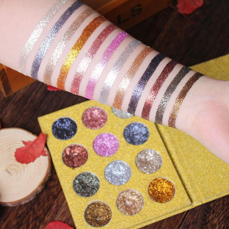 Imagic тени для век 12 видов цветов Палитра Блеск нажатии блестит тени для век diamond Радуга косметический нажатии Тени Make Up