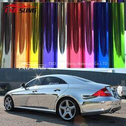 Cromo flexible! Silver Chrome Mirror vinilo del abrigo del coche etiqueta engomada con pegamento Importación y estirable película cromo espejo vinilo