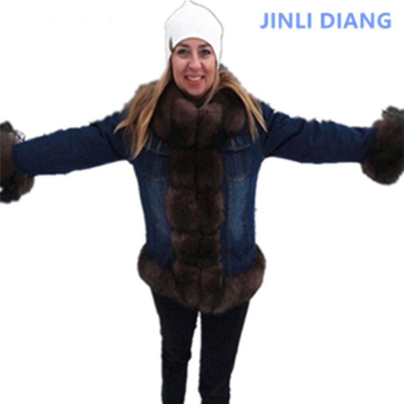 denim parka real fur coat winter jacket women jeans parka thick warm fur parkas street style new womens clothes