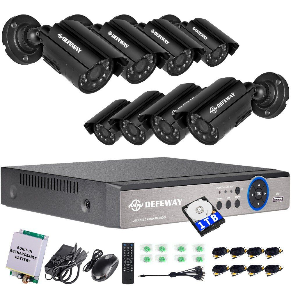 DEFEWAY 720P HD 1200TVL Outdoor Security Camera System 1080P HDMI CCTV Video Surveillance 8CH DVR With Rechargerable Battery