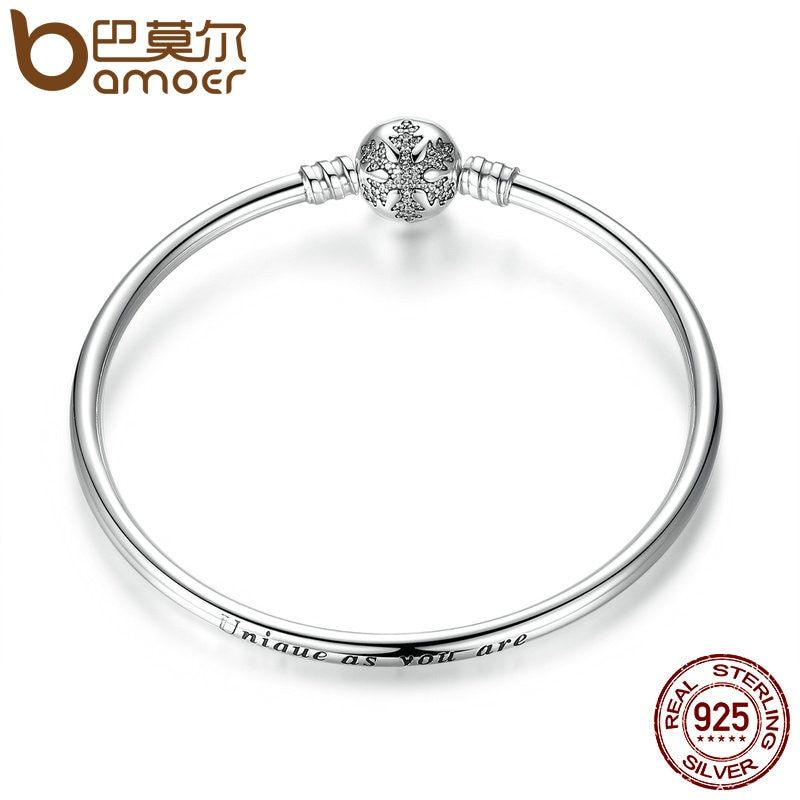 BAMOER Authentic 925 Sterling Silver Engrave Snowflake Clasp Unique as you are Snake Chain Bracelet & Bangle DIY Jewelry PAS915