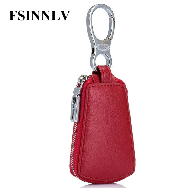 FSINNLV New Arrival Genuine Leather Key Holder Unisex Key Wallet 6 Colors Key Organizer Key Holder Car Housekeeper Wallet DC163