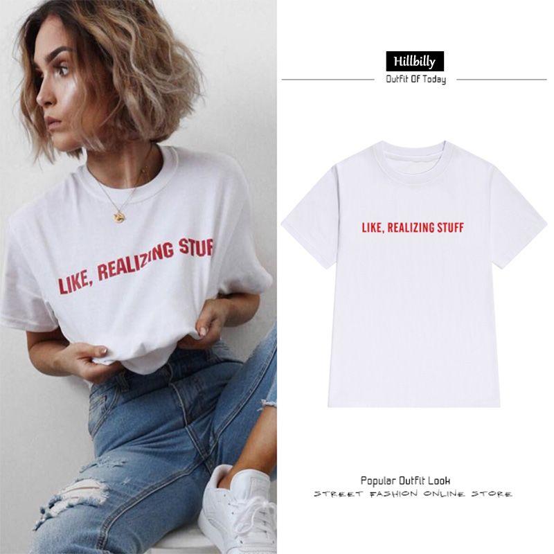 Hillbilly Chaude T-shirts pour Femmes Rouge Lettres Comme Réaliser Trucs Occasionnel Lâche Plus La Taille T-shirt Col Rond En Coton T-shirts & Tops