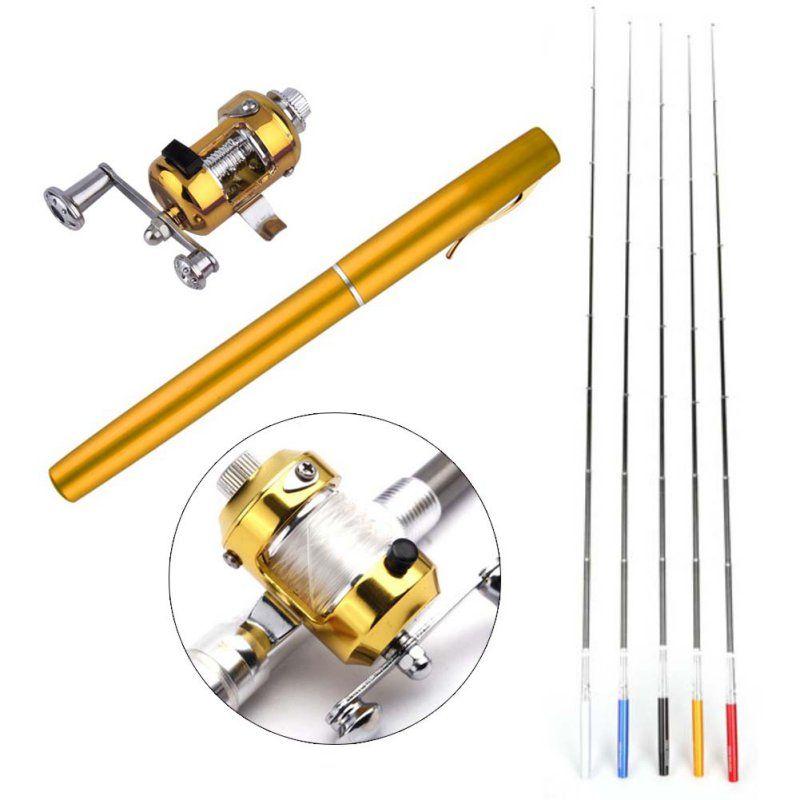 Balight Portable poche télescopique Mini pôle de pêche stylo forme plié canne à pêche avec roue de bobine