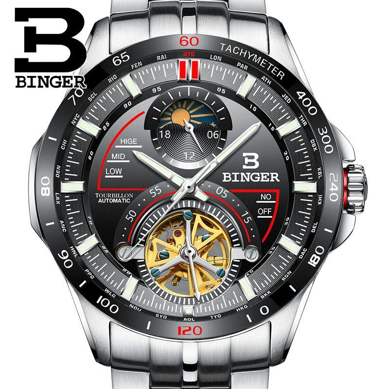 Genuine Luxury Switzerland BINGER Men outdoor multi-functional sapphire full steel waterproof watch Calendar Racing series