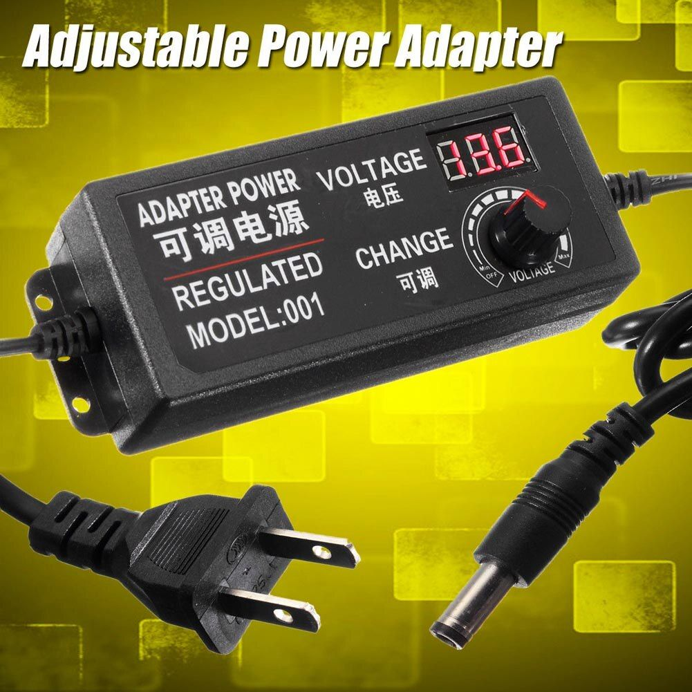 AC/DC Supply 9-24V 3A 72W Adjustable Power Adapter Speed Control Volt Display ALI88