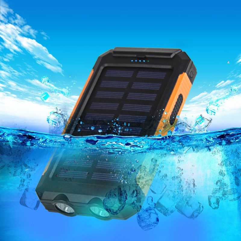 Waterproof Solar Power Bank 20000mAh Dual USB Li-Polymer Solar Battery Charger Travel Power bank for All Phone Free Shipping