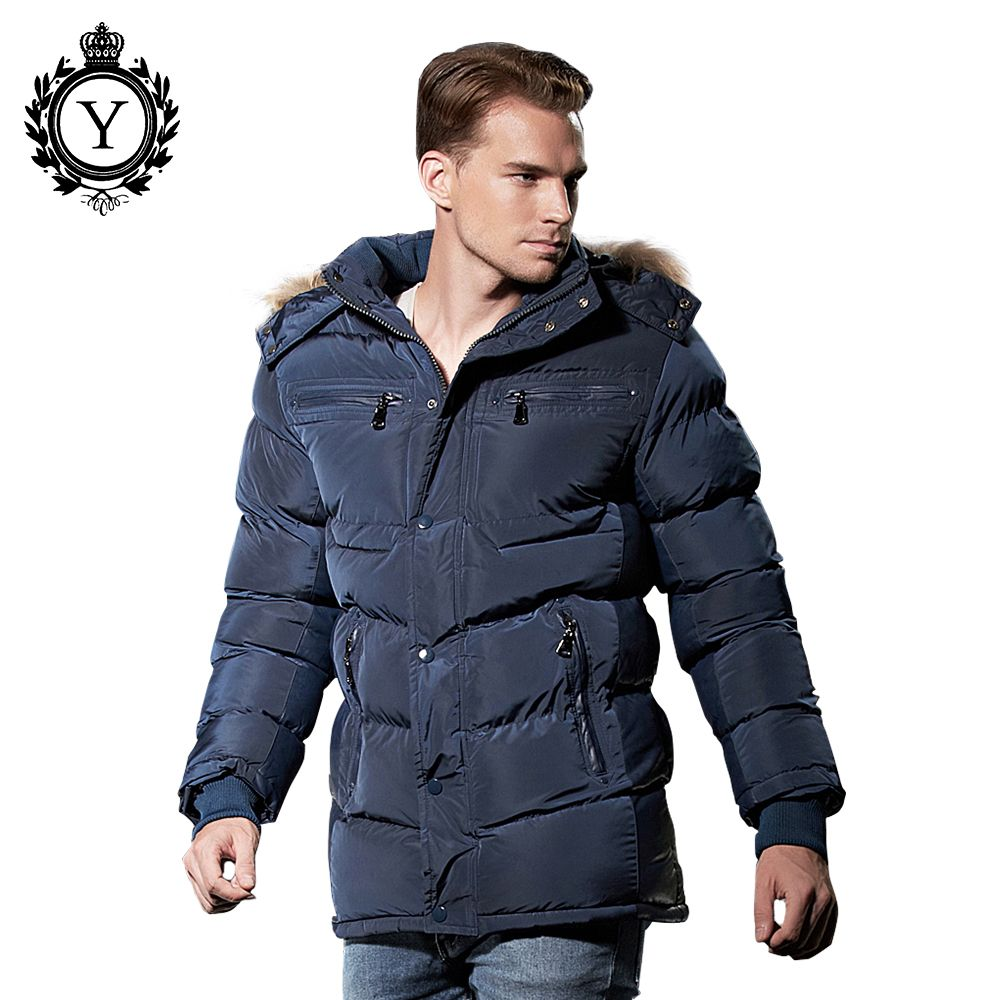 COUTUDI Stylish Winter Jacket Men 2017 Hot Sale Popular Dark Blue Thick Warm Long Style Bomber Jacket Fur Hood Coat Cotton Parka