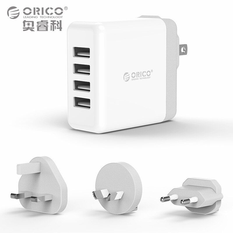 USB Tralver Charger with Converter EU UK AU Plug, ORICO 4 Ports USB Super Charger 5V6.8A34W Wall Charger (DSP-4U)