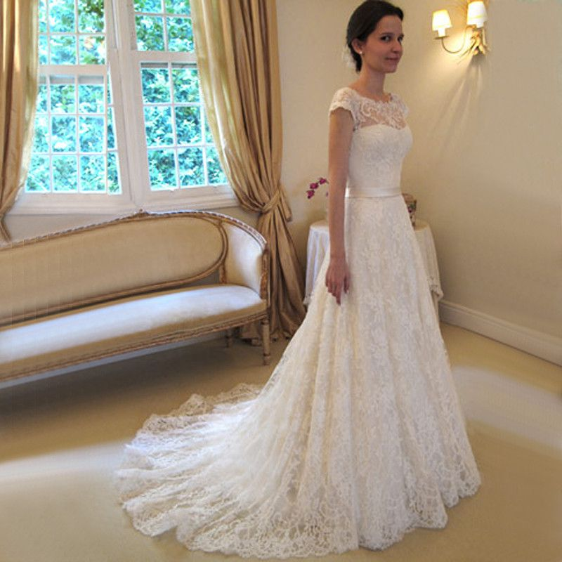 Perfect Suite With Short Sleeve Wedding Dresses 2017 Vintage Appliques Line Backlss Court Train Wedding Dresses