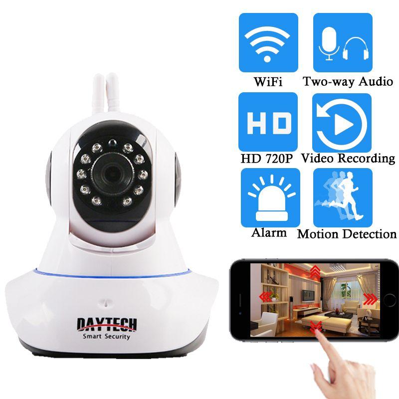 Daytech caméra IP sans fil caméra de sécurité à domicile WiFi réseau PT Audio bidirectionnel IR coupe HD 720 P CCTV Vision nocturne détection de mouvement