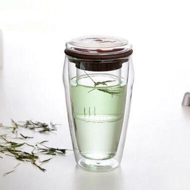 450 ml double couche tasse à café citron boire verre bouteille saine entreprise maison isolation thermique tasse à thé avec couvercle en silicone
