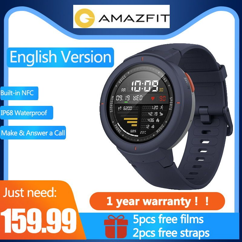 English Version Free strap & Free film Xiaomi Huami AMAZFIT Verge 3 clock Built-in NFC IP68 GPS Sport Smart Watches answer calls