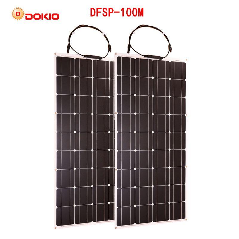 Dokio 2 stücke 100 W Flexible Solar Panel Monokristalline Tragbare 100 w Solar Panel Für Urlaub & RV & Boot hiquality Solarzelle China