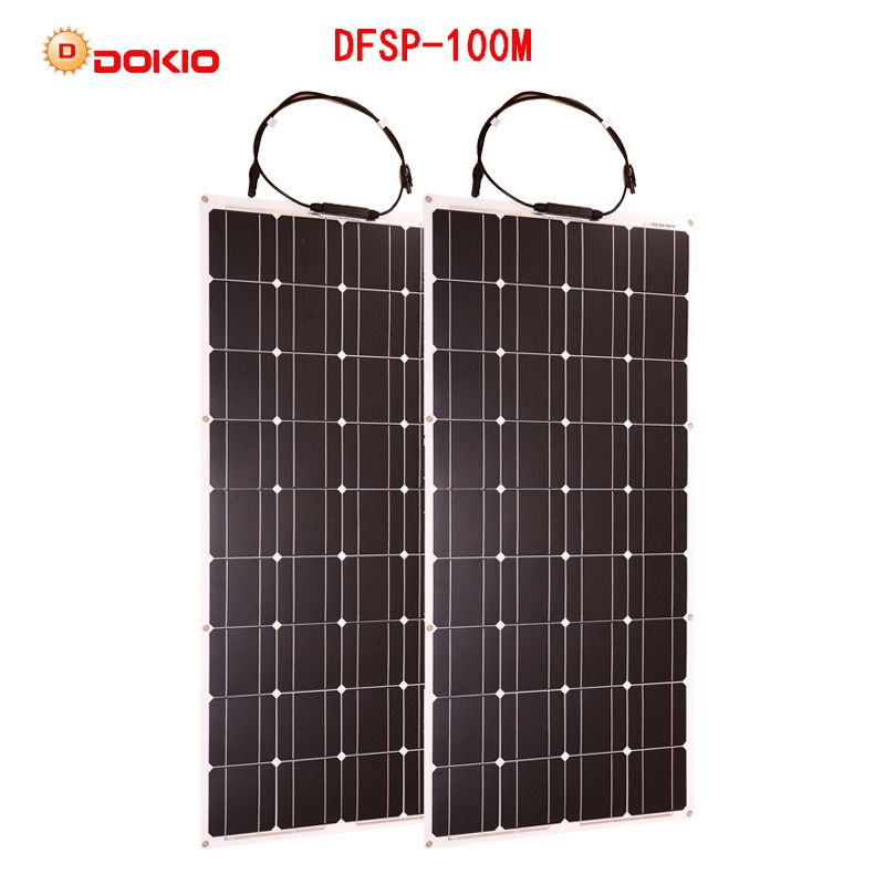 Dokio 2PCS 100W Flexible Solar Panel Monocrystalline Portable 100w Solar Panel For Vacation&RV&Boat Hiquality Solar Cell China