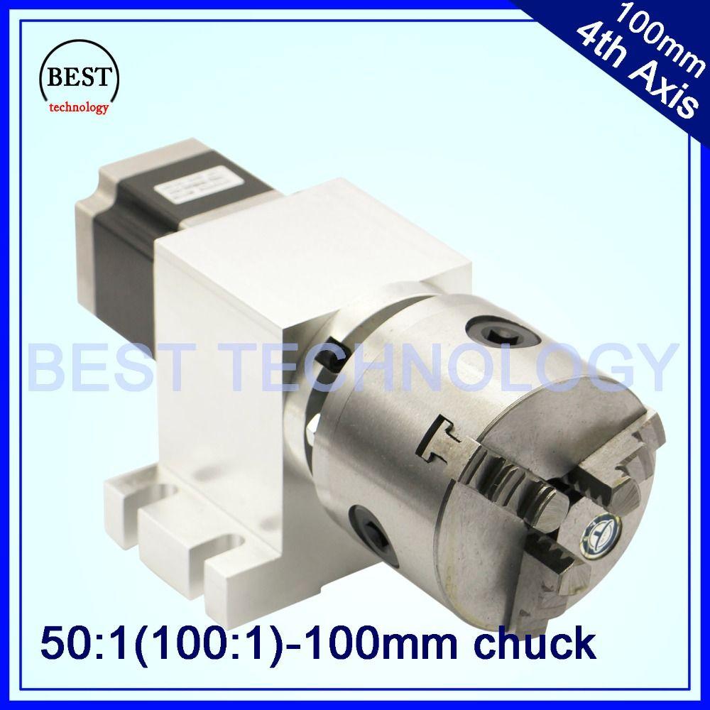 100mm CNC 4th Axis CNC dividing head/Rotation Axis/A axis kit Nema23 Gapless harmonic gearbox for CNC woodworking machine
