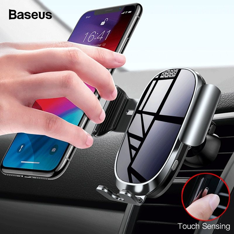 Baseus Intelligent Sensing Car Phone Holder For iPhone X XS Max XR Samsung Gravity Air Vent Car Mount Holder Mobile Phone Stand