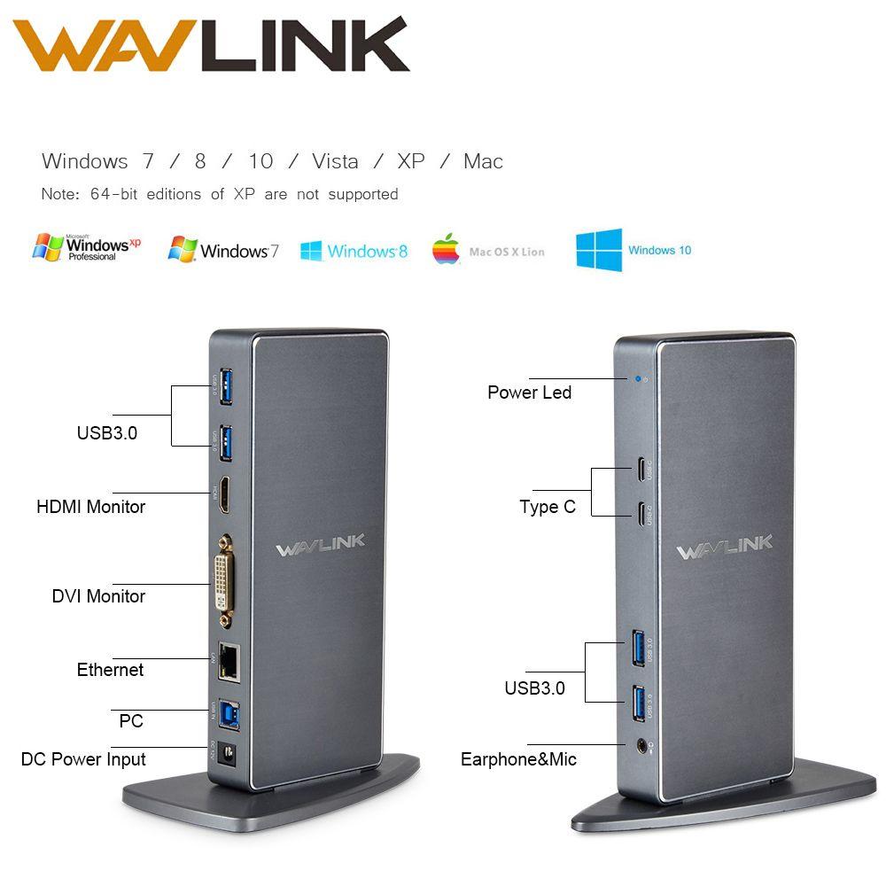 Wavlink Full HD 2048x1152 USB 3.0 type-c USB-C Station d'accueil universelle + RJ45/DVI/HDMI/VGA/MIC/Port Audio DisplayLink pour ordinateur portable