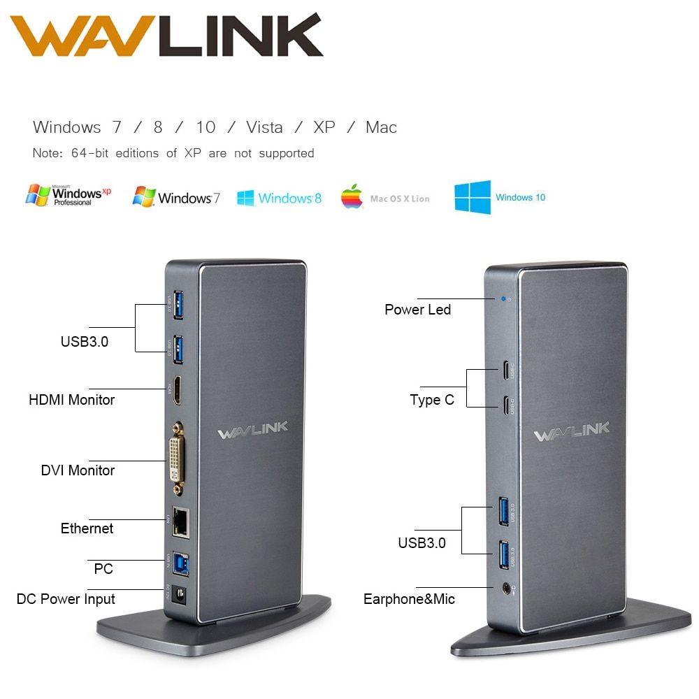 Wavlink Full HD 2048x1152 USB 3.0 Type-C USB-C Universel Station D'accueil + RJ45/DVI/HDMI/VGA/MIC/Audio Port DisplayLink POUR ORDINATEUR PORTABLE