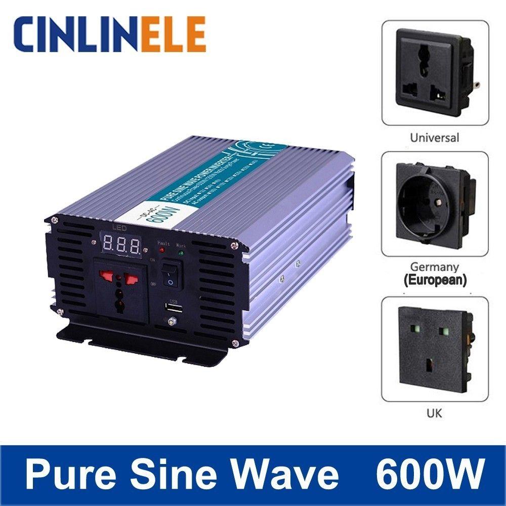 Smart Pure Sine Wave Inverter 600W CLP600A DC 12V 24V 48V to AC 110V 220V Smart Series Solar Power 600W Surge Power 1200W
