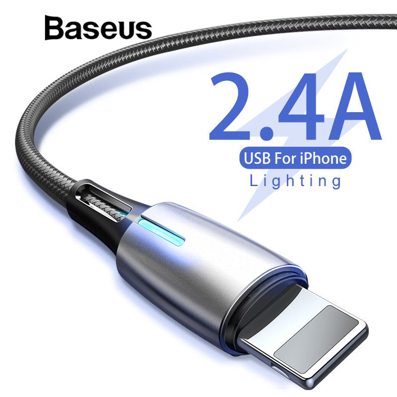 Baseus Wasser Tröpfchen Licht Design USB Kabel für iPhone X xr xs max Ladegerät für iPhone 8 7 6 6 s Plus 2,4 Schnelle Ladekabel