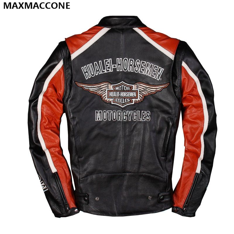 2018 Men Black Genuine Leather Motorcycle Jacket Plus Size XXXL Real Thick Cowhide Slim Fit Leather Biker Coat FREE SHIPPING