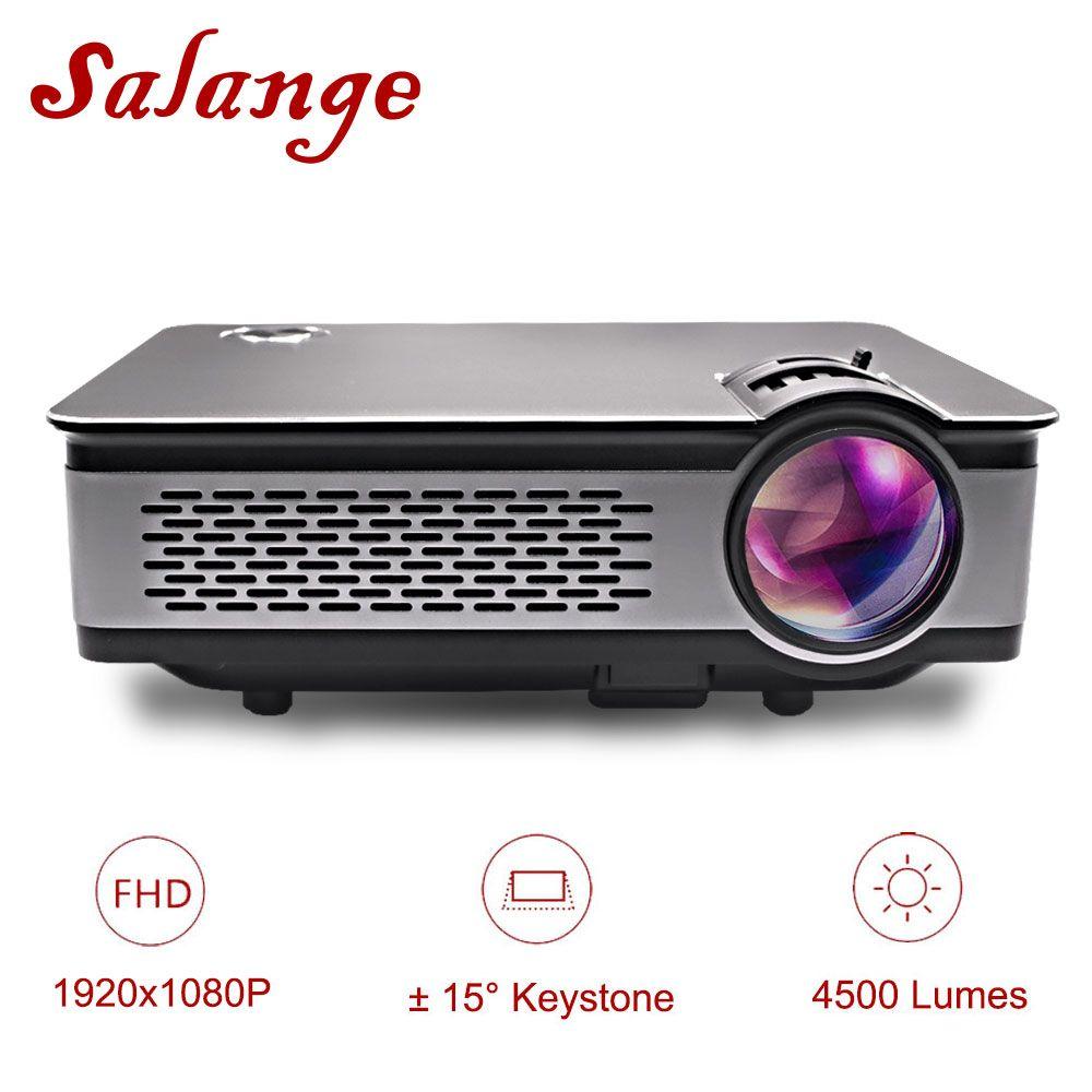 Salange T24 Projektor Full HD 1080 p, 4500 Lumen LED Projektor, Heimkino, HDMI VGA USB, 1920x1080 Film Beamer Proyector