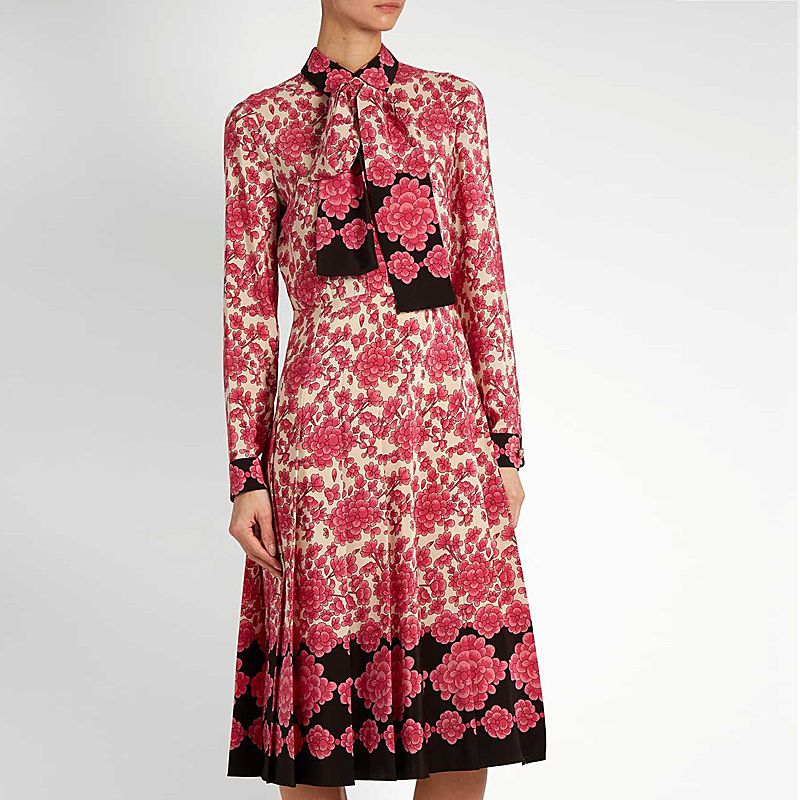 XF New Shop Special High Quality Fashion Designer Runway Autumn Dress Pleated Women'S Long Sleeve Floral Print Vintage Dress