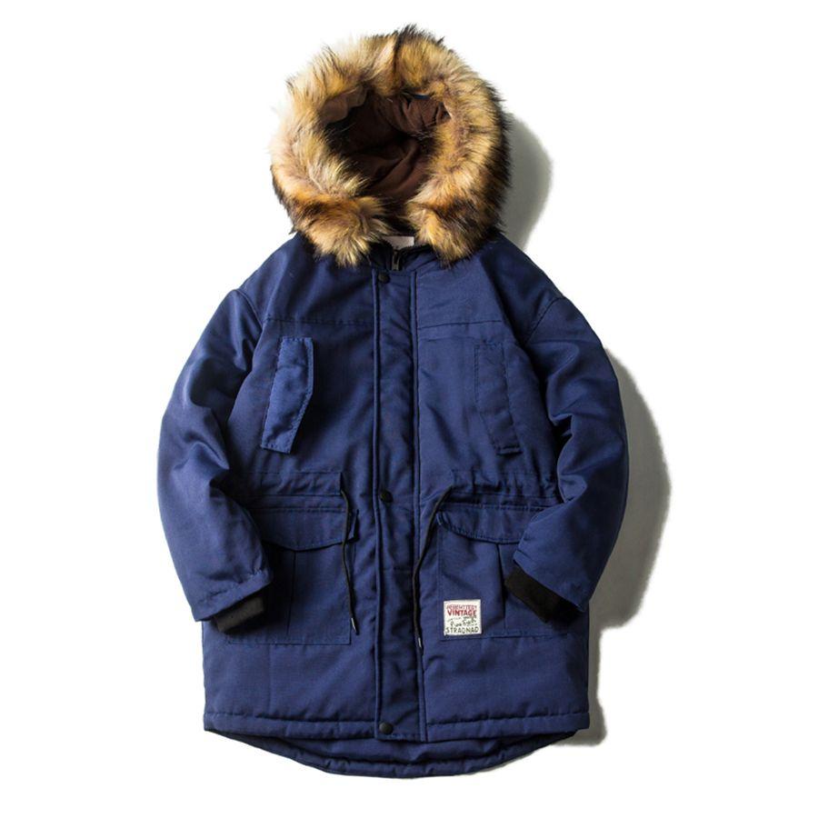 Lange Winter Windjacke Jacke Männer Pelz Kragen Mit Kapuze Warme 2018 Mode Streetwear Winter Jacken Herren Padded Navy Blau Orange