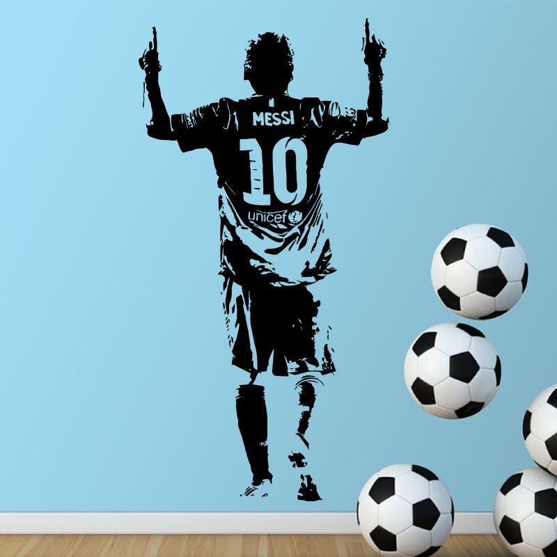 Nouveau Design Lionel Messi Figure Sticker mural vinyle décoration bricolage Football étoile décalcomanies Football athlète pour chambre d'enfants