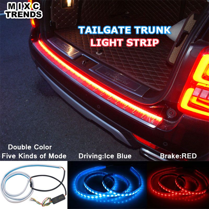 Ice Blue Red Flexible LED Strip <font><b>Flowing</b></font> Rear Trunk Tail Light Dynamic Streamer Brake Turn Signal Reverse Warning Flash Lights
