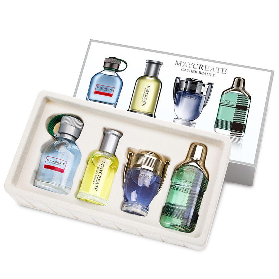 MayCreate 1Set 4Pcs Men Perfumed Long Lasting Fragrance Mini Bottle Portable Perfumed Brand For Men Women Female Perfumed