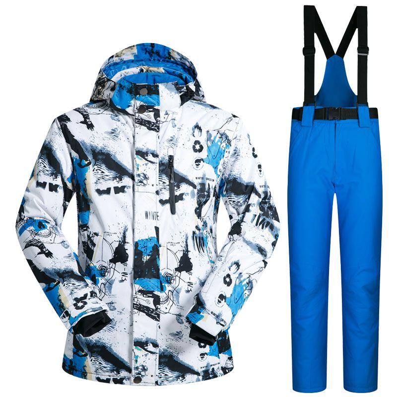 Новый открытый лыжный костюм Для мужчин ветрозащитный Водонепроницаемый Термальность Сноуборд Снег мужской Лыжный спорт куртка и Брюки дл...