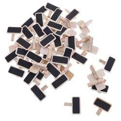50 unids/lote Fuente de la fábrica pizarra abrazaderas nota carpeta Clip de la foto marca pizarras Clips mensaje carpetas Mini madera