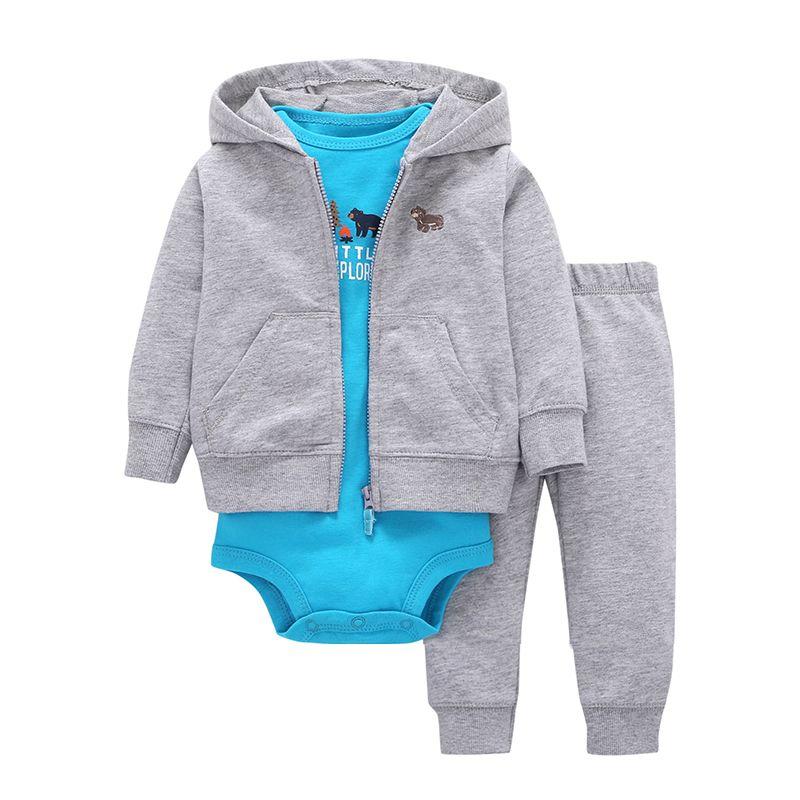 2018 Sale <font><b>Promotion</b></font> Coat+pants+baby Romper Autumn Winter Sets 6~24 Months Baby Boys Gilrs Clothes 100% Cotton Bodysuit Infant