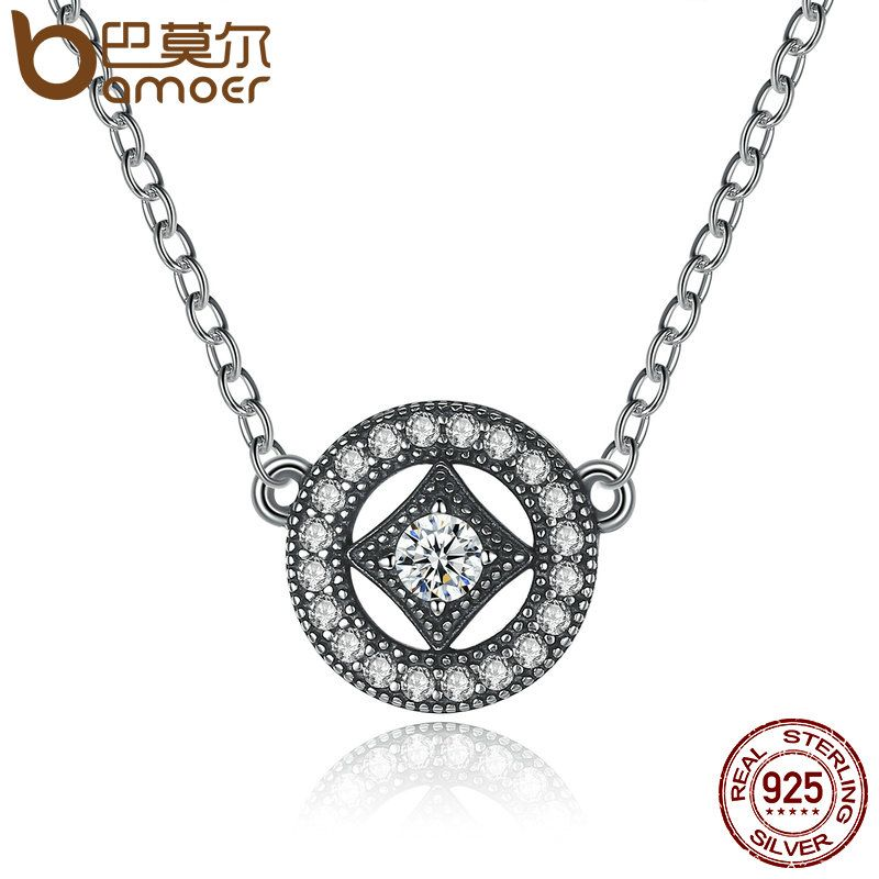 BAMOER Authentic Stunning 925 Sterling Silver Vintage Dazzling Allure with AAA Zircon Necklaces & Pendants Jewelry PSN014