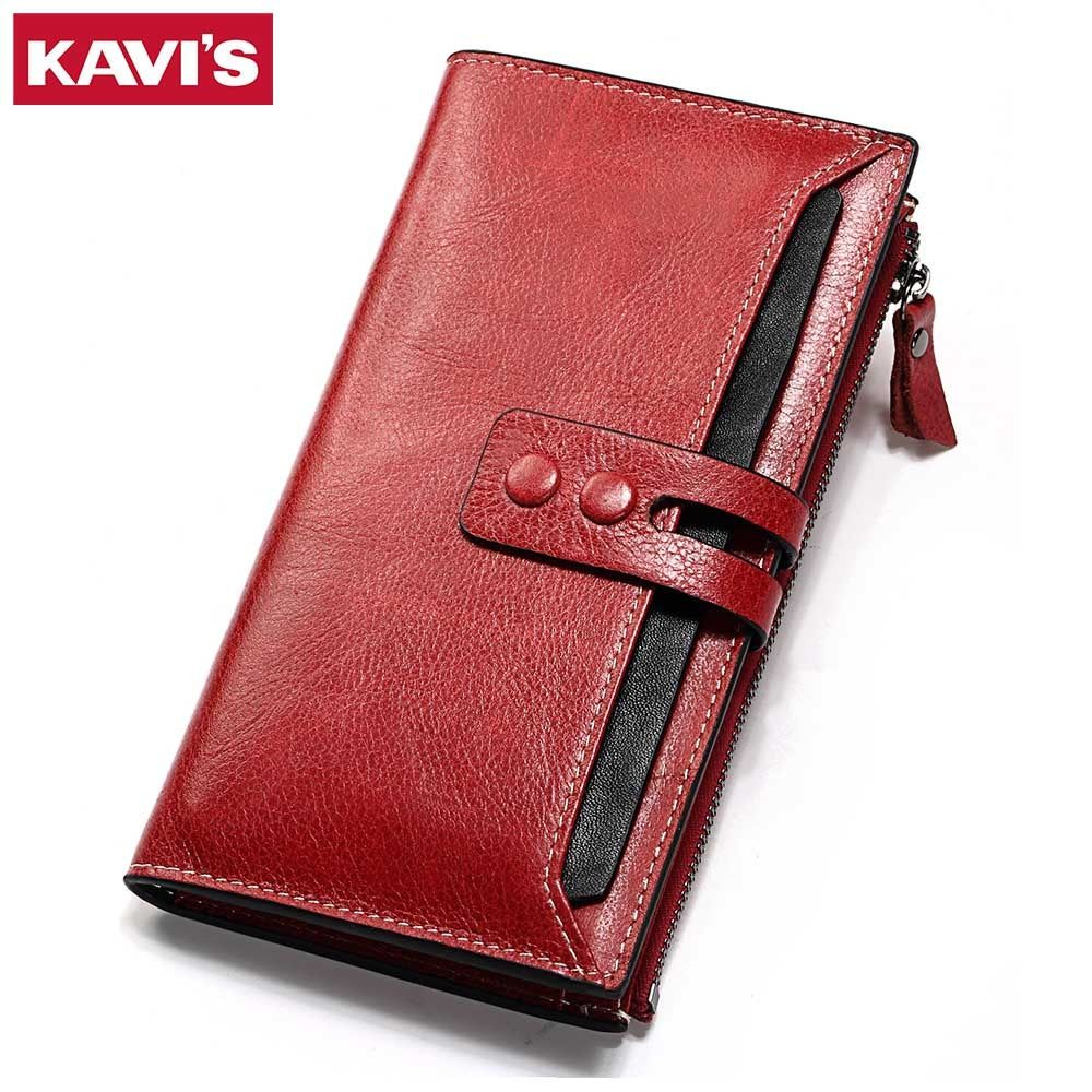 KAVIS Wallet Female Genuine Leather Women Purse Clutch Coin Purse Long Walet Portomonee Clamp for Money Bag Handy Lady and Girls