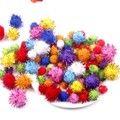 200Pcs Pompom Balls Glitter Pom Poms Early Learning Creative Christmas Home Decoration Handmade Craft Scrapbooking Doll DIY