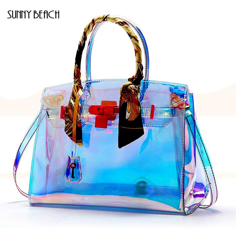 SUNNY BEACH Female fashion Hologram Laser lock bag Shoulder handbag Women Transparent Clear PVC Jelly Tote Messenger Bags