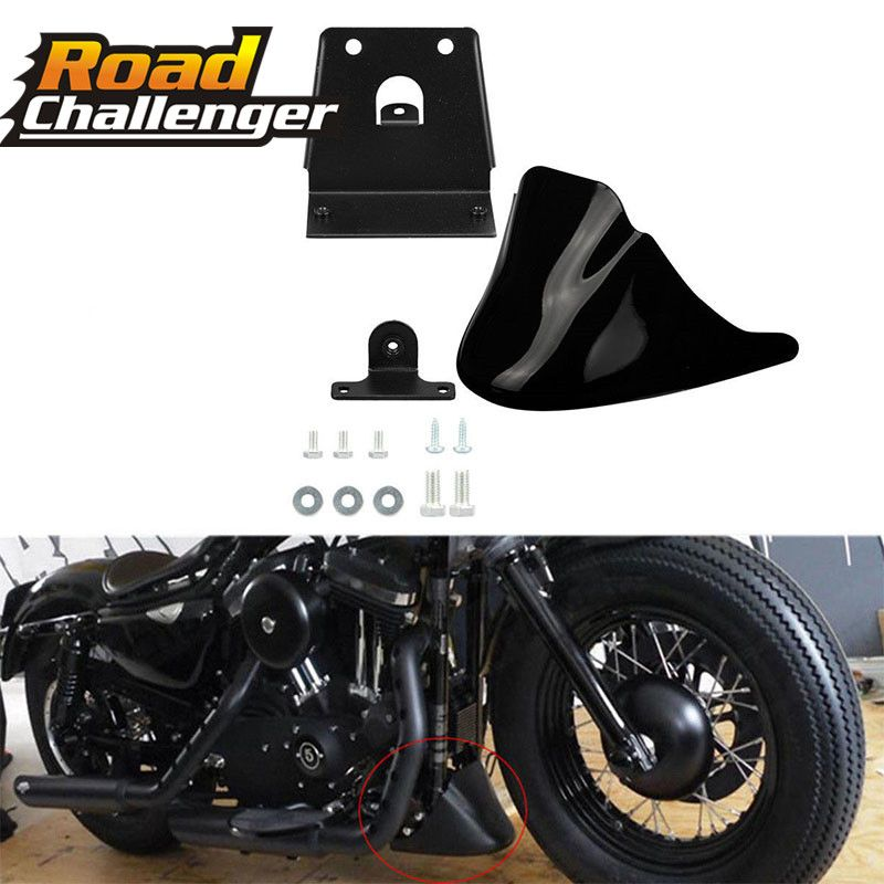 Black Motorcycle Front Chin Bottom Spoiler Mudguard Air Dam Fairing Cover Mudguard Fair for For Harley Sportster XL883 XL1200